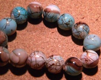 10 pearls drawbench glass - 12 mm - blue, chocolate - PF23-5