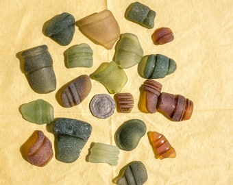 Scottish Beachcombed Sea Glass: Mixed Shades Sea Worn Patterned Bottle Top Pieces for Crafts/Mosaics 20 pieces 110g