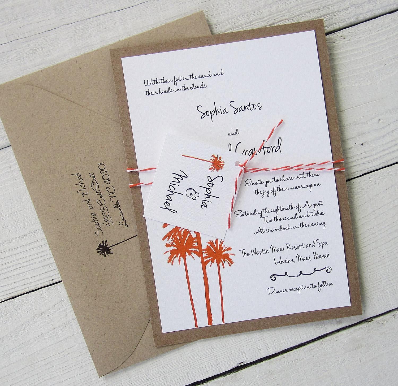 Palm tree wedding invitation rustic vintage beach hawaiian zoom monicamarmolfo Gallery