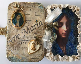 Reserved! Blessed Mother, Virgin Mary Assemblage Shrine Altered Shrine Pocket Shrine Travel Shrine Mixed Media Shrine Altoid Tin