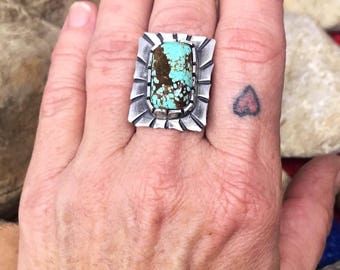 Turquoiuse and Sterling Silver Ring - Number 8 Turquoise - Chatfields Jewelry - Big Turquoise Ring Size 8 - Artisan jewelry