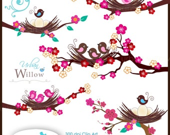 BABY BIRDS & BLOSSOMS - Clip art in Png and Jpeg files.