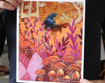 Bear Talking with Birds; Fine Art Print