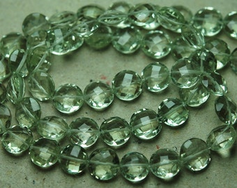 6 Inch Strand,Finest Quality,Natural Green Amethyst Matched Pair 12mm Size, Faceted Coins Shaped Briolettes