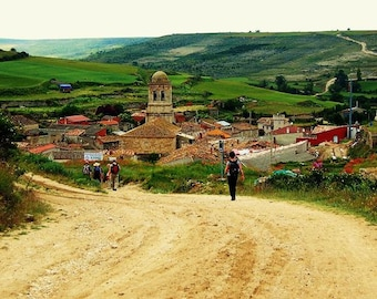 Picturesque Arrival -Spain Camino de Santiago Landscape Photograph, Way of St James, Hiking, Traveler, Photo Print, Village, Scenic Mountain