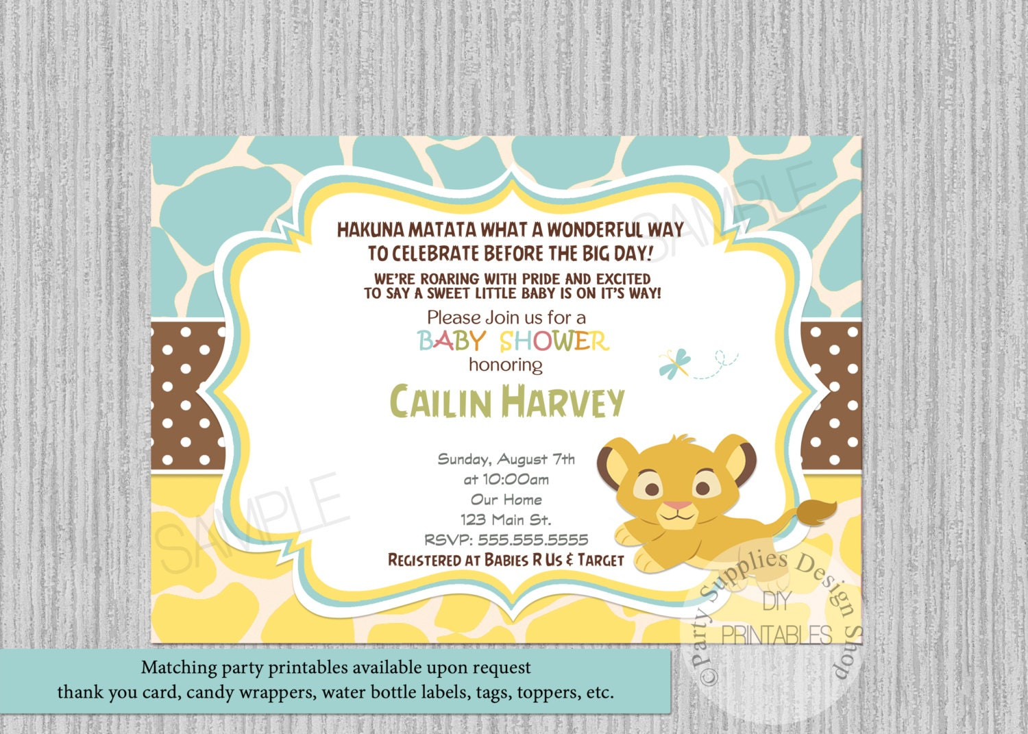 Lion king simba baby shower invitations simba baby shower description simba baby shower invitation filmwisefo Gallery