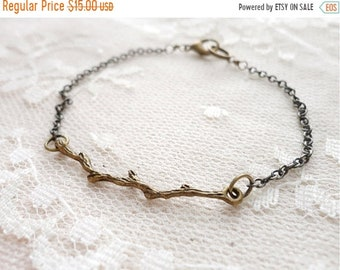 30% OFF SALE Branch / twig bracelet, delicate and whimsical, antiqued bronze tone, Woodland Magic