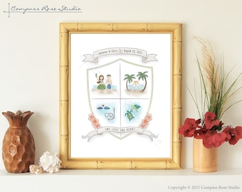 Personalized Hawaiian Wedding Gift, Tropical Coat of Arms, Wedding Crest, Anniversary Gift, Newlywed, Destination or Elopement Wedding Gift