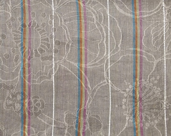 Grey floral and striped polyester cotton voile fabric