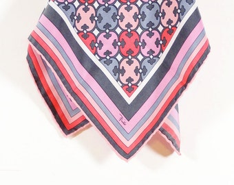 Silk Vintage Pink and Gray Patterned Scarf - Pink Grey Silk Scarf
