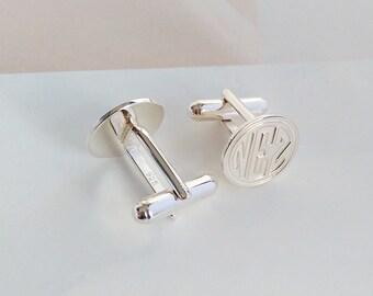 Groom Wedding Cufflinks,Personalized Wedding Cufflinks,Date and Initials Cufflinks,Engraved CuffLinks,Elegant Monogrammed Cufflinks