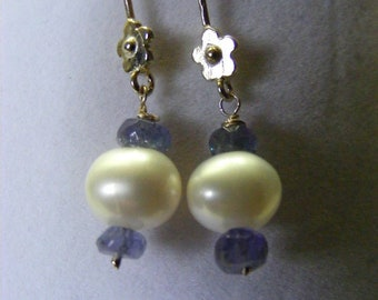 White Pearl, Tanzanite Gemstone and Sterling Silver Earrings