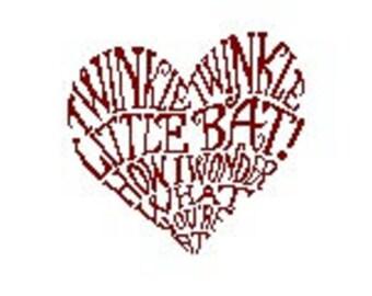 Alice in Wonderland Cross Stitch PDF Pattern - Twinkle Twinkle Little Bat quote