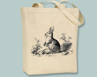 Vintage Bunny Rabbit Canvas Bag  - Selection of sizes available, image in ANY COLOR