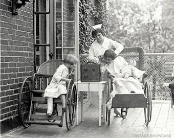 Vintage Photo Nurse at Children's Hospital Listening to Radio