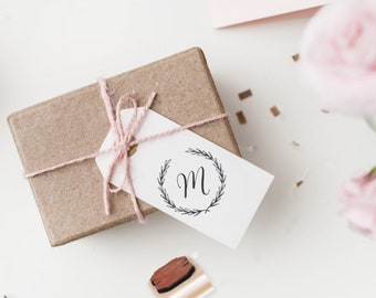 Monogram Wreath Hand Stamp - Personalized Calligraphy Letter - Wooden Handle and Self Inking Options - Favors, Bride To Be Gift (904)