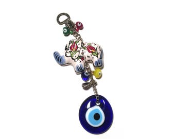Evil Eye Wall Hanging with Ceramic Elephant, Evil Eye Wall Hanging, Evil Eye, Hamsa, Evil Eye Wall Hanger (FREE SHIPPING!!!)
