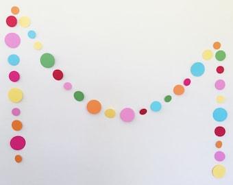 Sprinkle & Confetti Garland. Spotty Circle Garland in Rainbow of Colors. Birthday Garland.