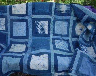 """Indigo Quilt Shibori Quilt Natural Dye Handquilted Light Dark Indigo Blue Purple Quilt Unusual Quilt Milkweed Quilt Cotton Quilt 57"""" x 76"""""""