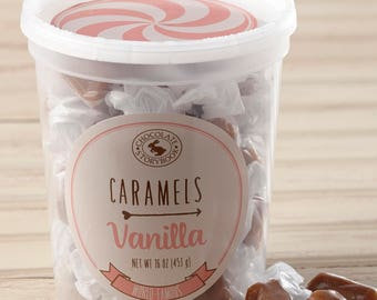 Old Fashioned Vanilla Caramels in a Tub
