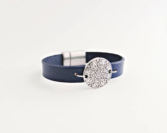 Silver Medallion Handcrafted Genuine Leather Bracelet - Choose Your Size and Color