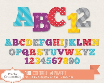 BUY 2 GET 1 FREE 180 Digital Bright Colorful Alphabet Clip Art / Cute Alphabet Clipart / digital alphabet letters numbers commercial use ok