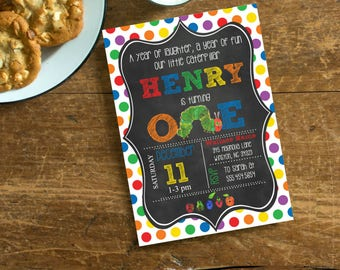 Hungry Caterpillar Style First Birthday Party invite, Polka Dot Primary Color Chalkboard First Birthday Printable Printed, #1007