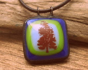 Tree Pendant | Fused Glass | Blue Glass | Nature Jewelry | Leather Cord | Green Jewelry | Stained Glass | Soldered Pendant | Gift Under 25