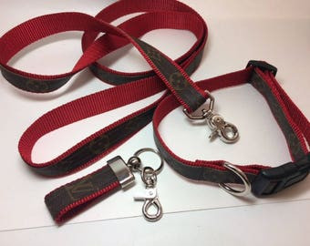 Louis Vuitton Dog Collar with leash and key chain, Upcycled, Recycled, Repurposed,  Choice of colors and sizes, authentic LV bags used ONLY