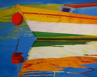 """Boat Oil Painting, Boat, Water Reflection, Original Oil Painting - """"Mare Alta"""" (30"""" x 48"""")"""