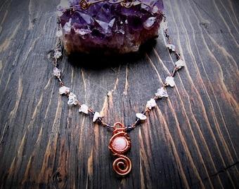 Rose Quartz & Quartz Wire Wrapped Necklace // Handmade // Wild Moon Child Designs // Wire Wrapped // Copper Jewelry //