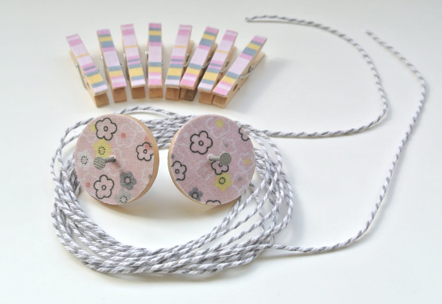 Art Hanging Kit ~ Mini Clothespins ~ Baker's Twine ~ Pinks, yellows and greys