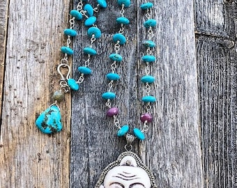 Happy Buddha Necklace | Pave Diamond | Turquoise | Ruby | Labradorite | Bohemian | Gemstone | Sterling Silver