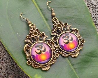 Ohm Earrings in Antique Bronze - Ohm, Lotus Flower, Ohm Earrings, Yoga Jewelry, Dangle Earrings