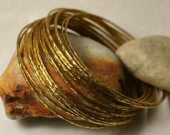 Stacking Bangle Bracelets, Gold Plated Bangles, Handmade Bangles, Hammered Bangles, Small to Medium, 2 pieces (item ID GPBT65N)