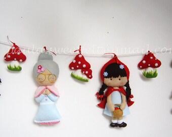 Little Red Riding Hood garland / granny / woodland man / big bad wolf / nursery decor / party decor