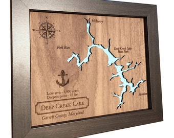 5th Anniversary gift Laser Cut Wood Lake Map - Any Lake - wood anniversary gift idea