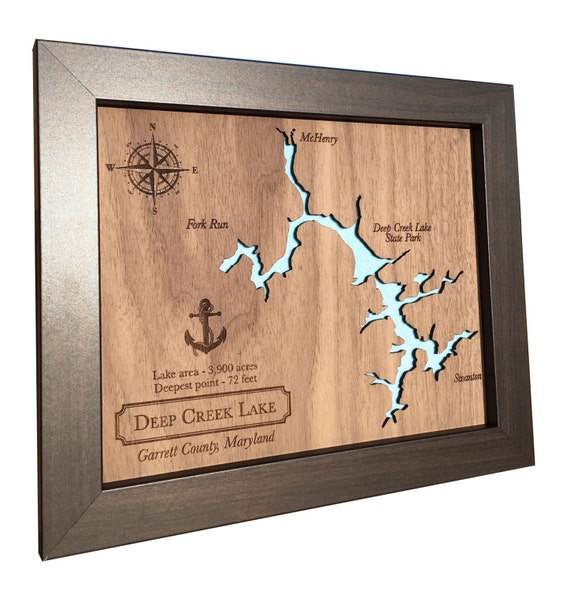 5th Anniversary Gifts For Her: 5th Anniversary Gift Laser Cut Wood Lake Map Any Lake Wood