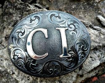 Western Belt Buckle, Mens Buckle, Custom Belt buckle, Personalized, Anniversary, Fiance Gift, Best Man Gift, Groom, Engraved Wedding Gift