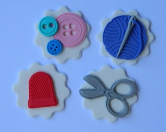 12 edible assorted SEWING FASHION DESIGN scissors buttons thread thimble mothers day cake topper decorations wedding anniversary birthday
