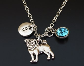 Pug Necklace, Pug Charm, Pug Pendant, Pug Jewelry, Pug Gift, Pug Lover Gift, Pug Life, Pug Mom, Pug Dog, Pug Memorial, Dog Necklace, Pug Sis