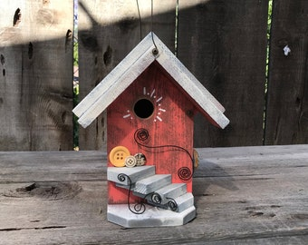 Birdhouse Functional Wood Bird House Handmade Outdoor For Garden Cavity Nesting Birds Whimsical Hanging Cottage Birdhouses, Item #622044943