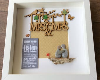 Pebble Art Wedding, lesbian gift, gift for lesbian couple, LGBT gift, lesbian engagement, Lesbian wedding gift, mrs and mrs gift, lesbian