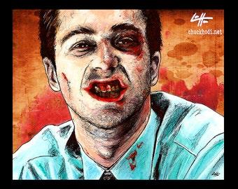 "Print 8x10"" - The Narrator - Fight Club Edward Norton Brad Pitt Helena Bonham Carter Pop Dark Art Lowbrow Art Tyler Durden Blood Teeth"
