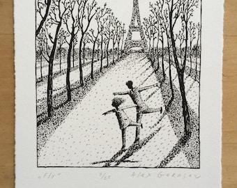 Fly - Original Lithograph - by Alex Gerasev - Eiffel Tower Paris - Paris Wall Art  - Print Love - French - Free Shipping