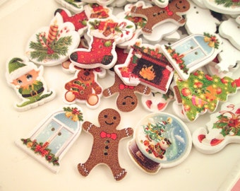 10 Retro Style Christmas Buttons Grab Bag Mix, Assorted Holiday Cabs, #713a