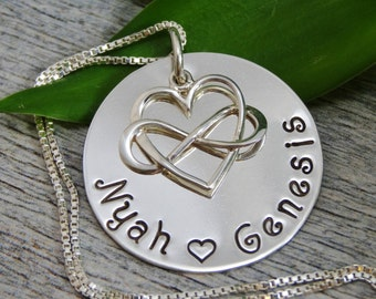 Hand Stamped Jewelry - Mom Necklace - Infinity Heart Charm - Sterling Silver Necklace - Personalized Jewelry - Necklace with names