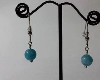 Genuine Aqua Blue Jade On Stainless Steel Hooks