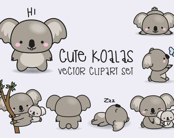 Premium Vector Clipart - Kawaii Koala - Cute Koalas Clipart Set - High Quality Vectors - Instant Download - Kawaii Clipart