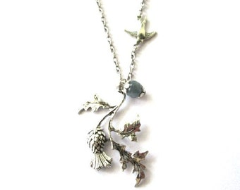 Scottish thistle necklace blue grey stone bead jewelry antiqued silver sparrow bird with thistle charm vintage style